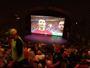 A view from the balcony, just before the game kicked-off. USA vs. Portugal at the Bing Crosby Theater.